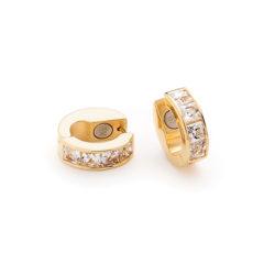 Cercei creole Energetix, magnetici, aur, cristale cubic zirconia