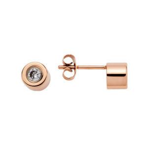 Cercei stud Energetix, magnetici, aur roz, cristale cubic zirconia