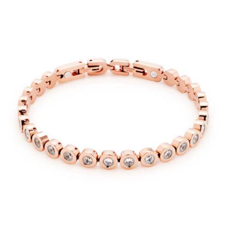 Brăţară magnetică Energetix, cu cristale cubic zirconia, aur roz
