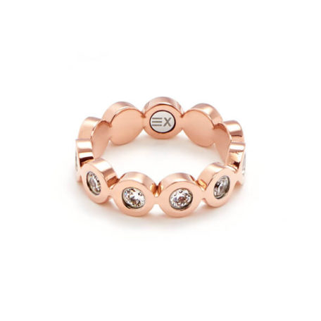 Inel Energetix, magnetic, aur roz, cristale cubic zirconia